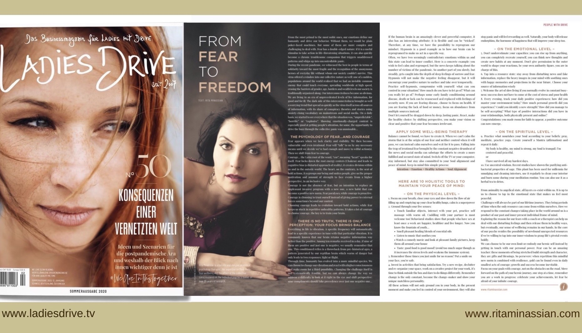 Rita Minassian Ladies drive magazine - from fear to freedom